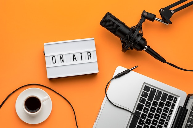 Morning tech on air radio stream and coffee Free Photo