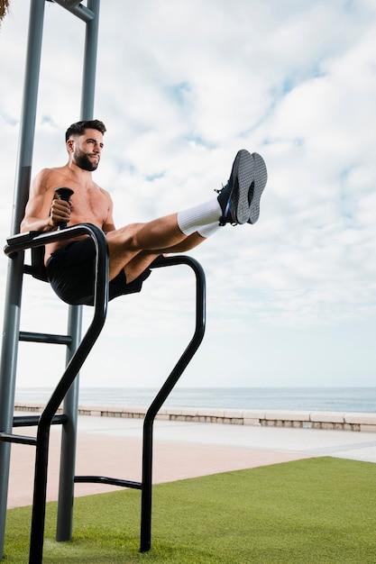Morning training exercise at seaside Free Photo