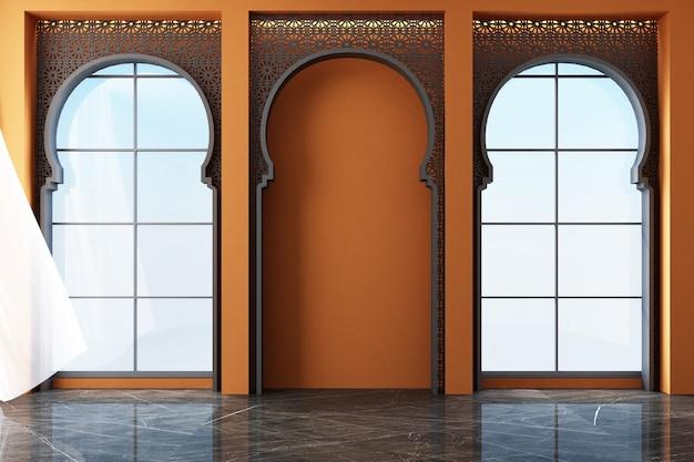 Марокканское внутреннее пространство с арабскими узорами лазерной резки на окнах и рендеринг мебели Premium Фотографии