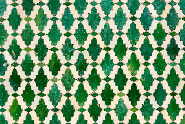 Moroccan tiles with traditional arabic patterns, ceramic tiles patterns Premium Photo
