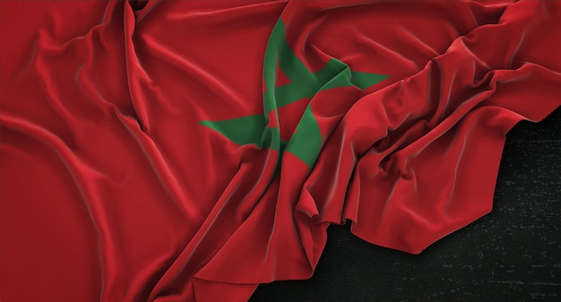 Morocco flag wrinkled on dark background 3d render Free Photo