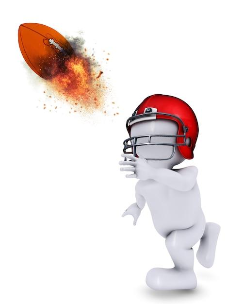 Morph man бросает пылающий американский футбол Бесплатные Фотографии