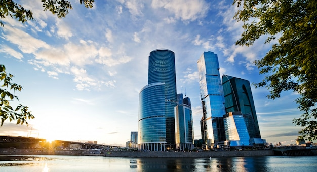 Moscow city and the river lee. sun Premium Photo