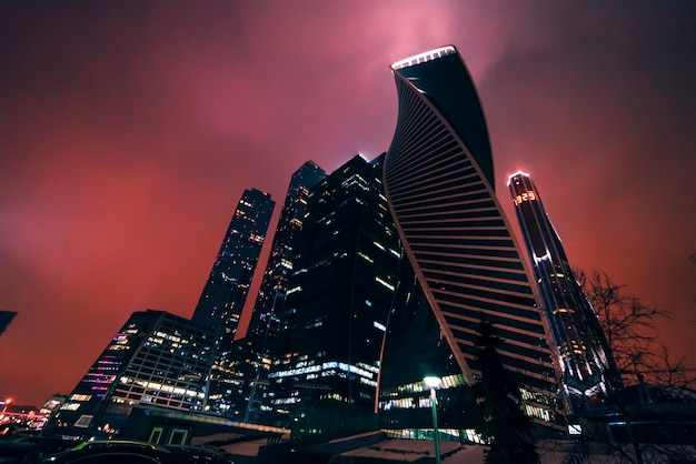 Moscow, russia   december 25, 2016: moscow city, moscow international business center, russia Premium Photo