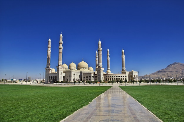 Mosque with green field Premium Photo