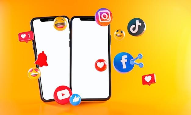 Самые популярные социальные сети instagram facebook tiktok youtube icons. два телефона Premium Фотографии