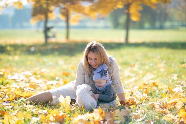 Мать и ее милый ребенок в осенний парк, играя с маленький щенок. Premium Фотографии