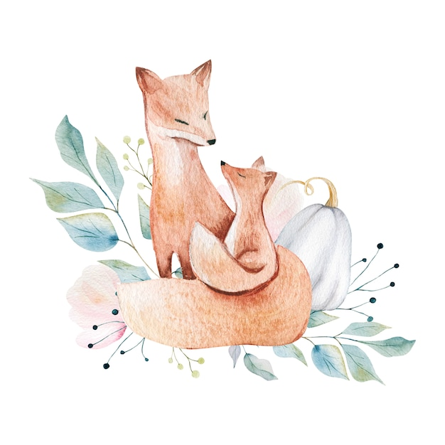 Mother and baby foxes Premium Photo