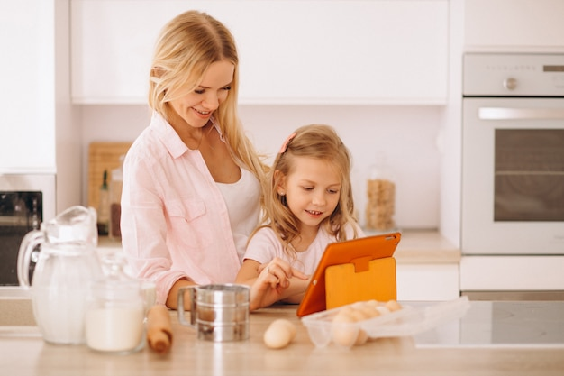 Mother and daughter baking at the kitchen Free Photo