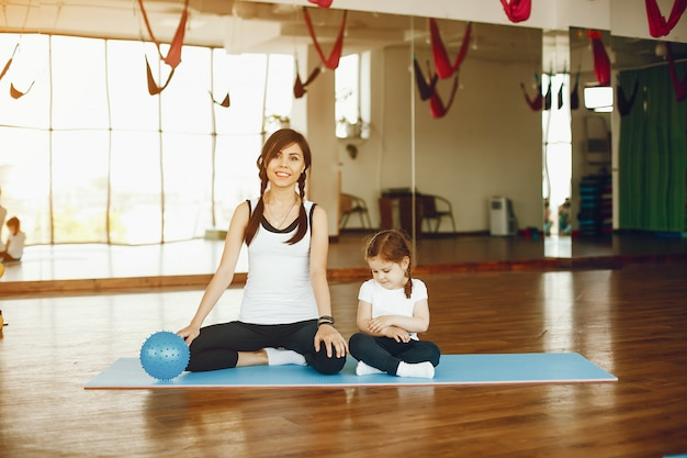 Mother and daughter with fitball Free Photo