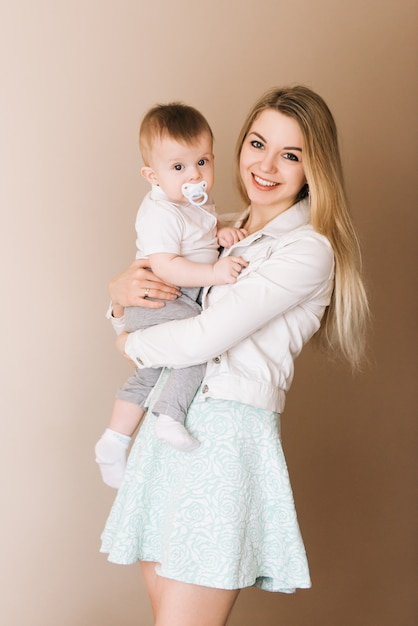 Mother Playing With Baby Boy Happy Family Having Fun Indoor
