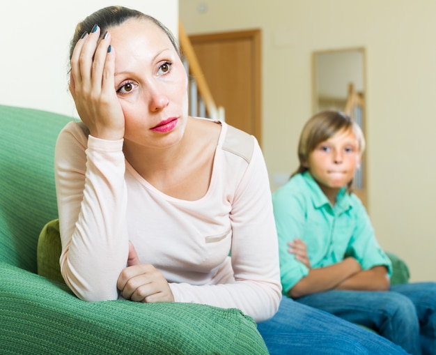 Mother and son after quarrel Free Photo
