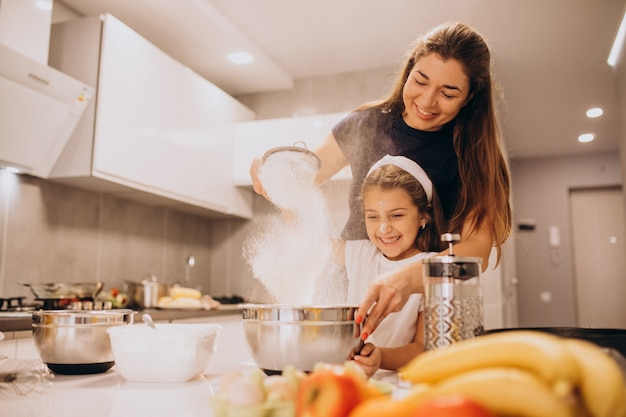Mother with daughter baking at kitchen together Free Photo