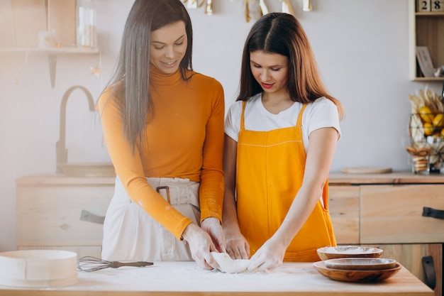 Mother with daughter baking at the kitchen Free Photo