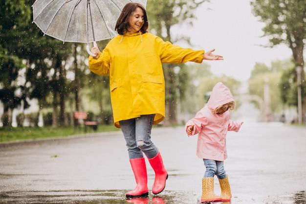 Мать с дочерью гуляют под дождем под зонтиком Бесплатные Фотографии