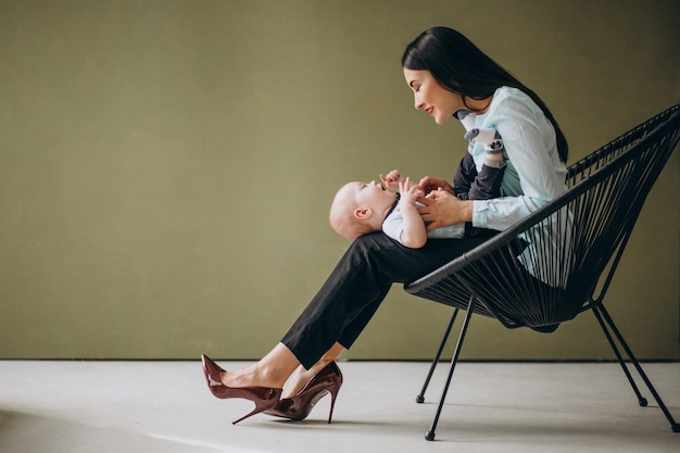 Mother with her newborn son Free Photo