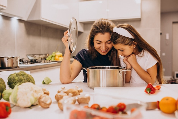 Mother with little daughter cooking together at kitchen Free Photo