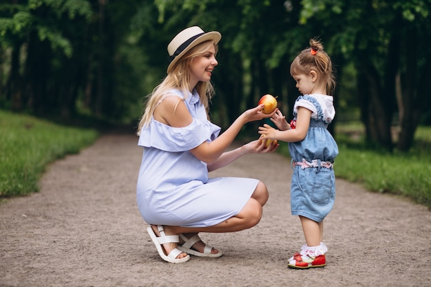 Mother with little daughter in park Free Photo