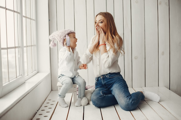 Mother with little son in a room Free Photo