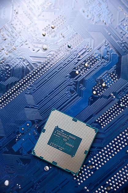 Motherboard digital chip background. Premium Photo