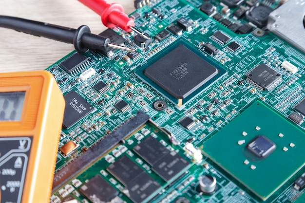 Motherboard from the computer, pc in the repair Premium Photo