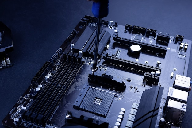 Motherboard and memory in the laptop Premium Photo