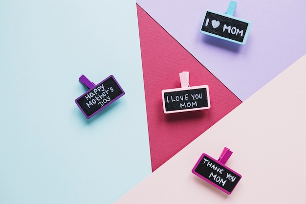 mothers day composition with chalk tags photo free download