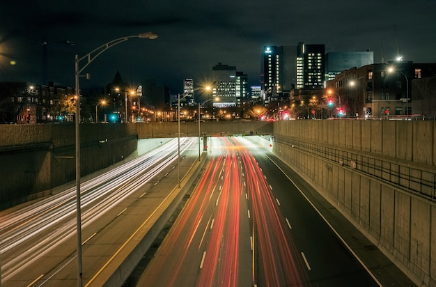 Motion blur effect on an interstate at night Free Photo