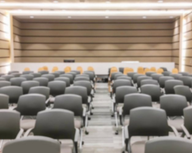 Motion blur of empty seminar after finish meeting and audience go out Premium Photo
