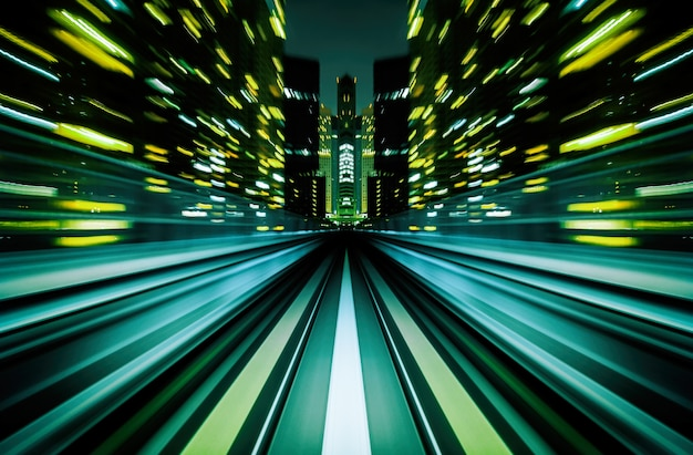Motion blur train moving in city rail tunnel. high speed vehicle background abstract. Premium Photo