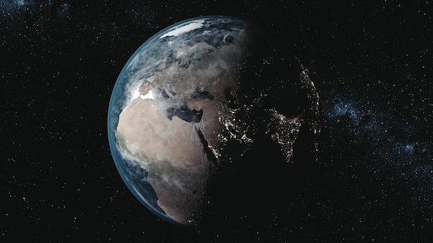 우주에서 은하수에 대한 태양 주위의 궤도에 조명 된 본토가있는 모션 그래프 행성 지구 모델. 3d 애니메이션. 과학 및 기술 개념. Nasa에서 제공하는이 미디어의 요소 프리미엄 사진