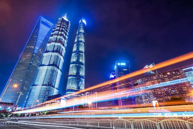 Motion speed effect with city night Premium Photo