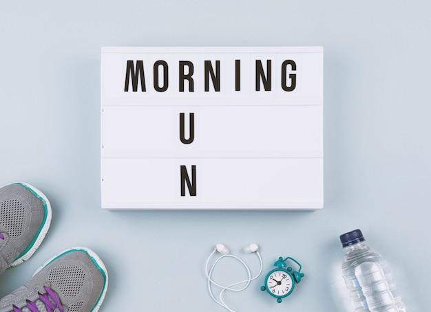 Motivation text on light box morning run Premium Photo