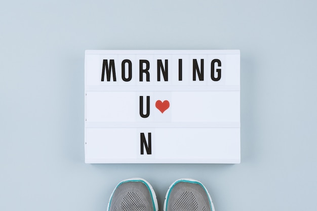 Motivation text on light box morning run Premium Photo