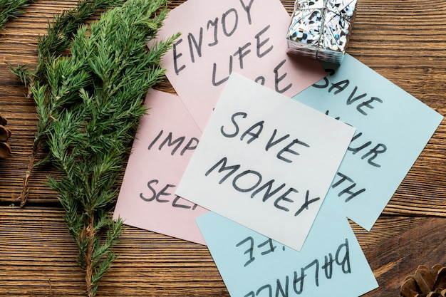 Motivational texts on sticky notes for new year's resolutions Premium Photo