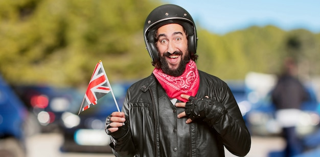 Motorbike rider with england flag Premium Photo
