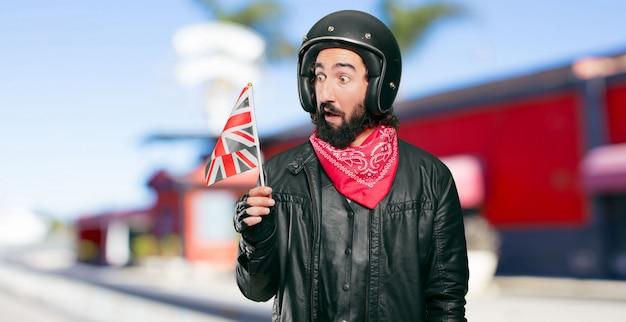 Motorbike rider with england flag Premium Photo