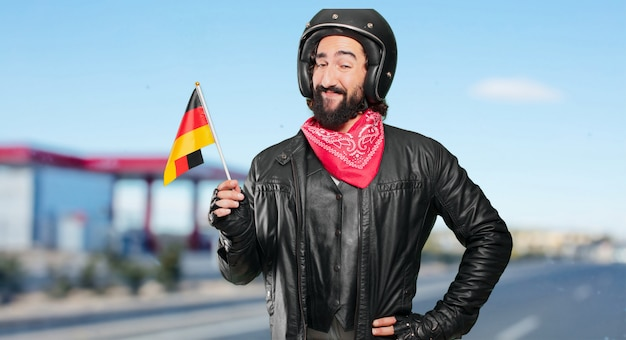 Motorbike rider with germany flag Premium Photo