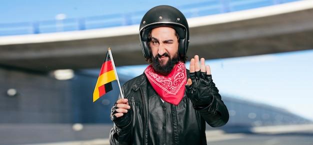 Motorbike rider with germany flag Premium Photo