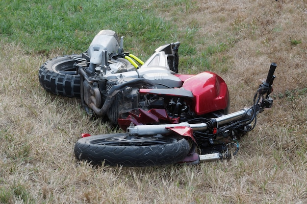 Motorcycle accident with motorcycle fallen Premium Photo