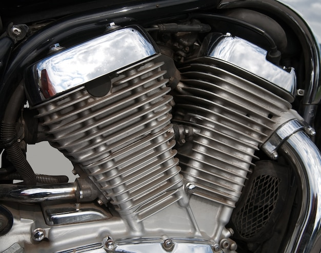 Motorcycle engine close-up Free Photo