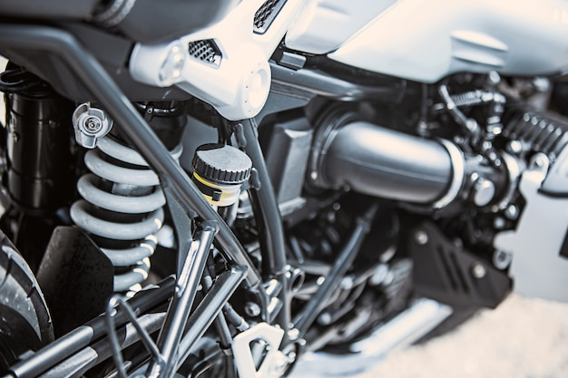 Motorcycle luxury items close-up: motorcycle parts Free Photo