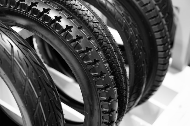 Motorcycle tyres are the outer part of wheels. Premium Photo