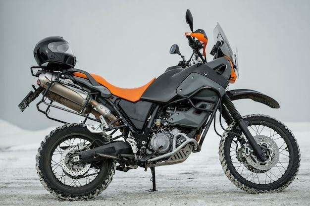 Motorcycle with helmet Free Photo