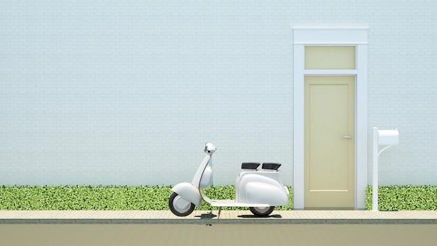 Motorcycle and yellow door on white brick background Premium Photo