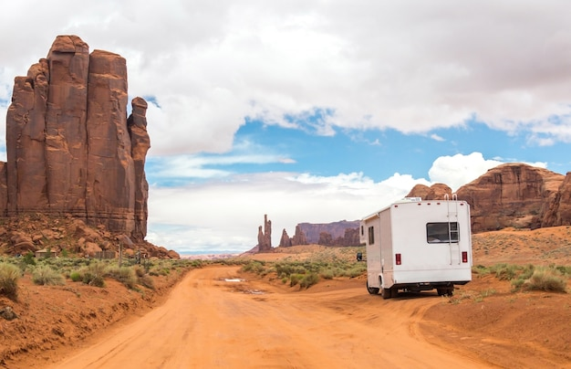 Motorhome in desert landscape Premium Photo