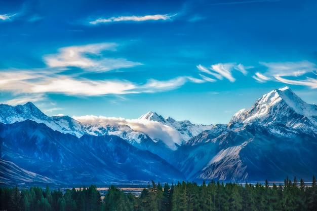 Сценарный ландшафт горы новой зеландии снятый на национальном парке mount cook. Premium Фотографии