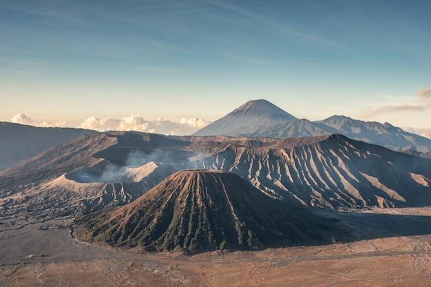 Mount volcano an active, kawah bromo, gunung batok at morning Premium Photo