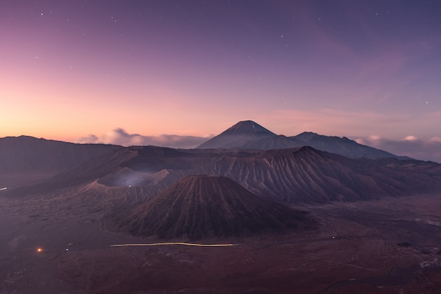 Mount volcano an active with star at dawn Premium Photo