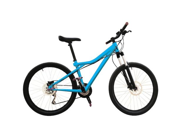 Горный велосипед с дисковыми тормозами и треугольной синей рамой. Premium Фотографии